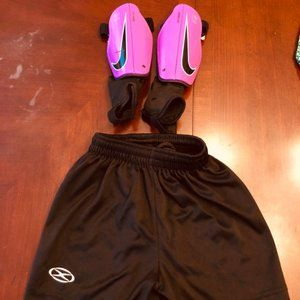 Youth Nike Soccer Shin Guards and Soccer Shorts